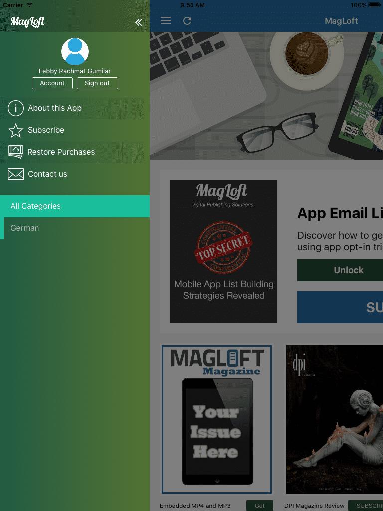 MagLoft iOS App Side Menu Open